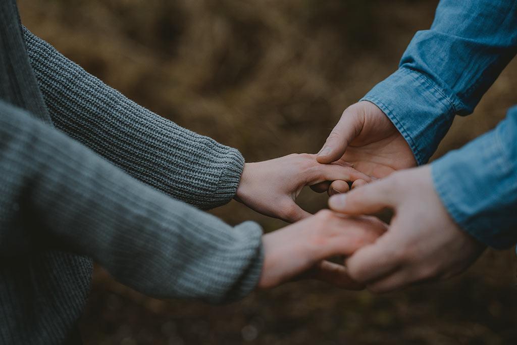Paarshooting Hände Nahaufahme