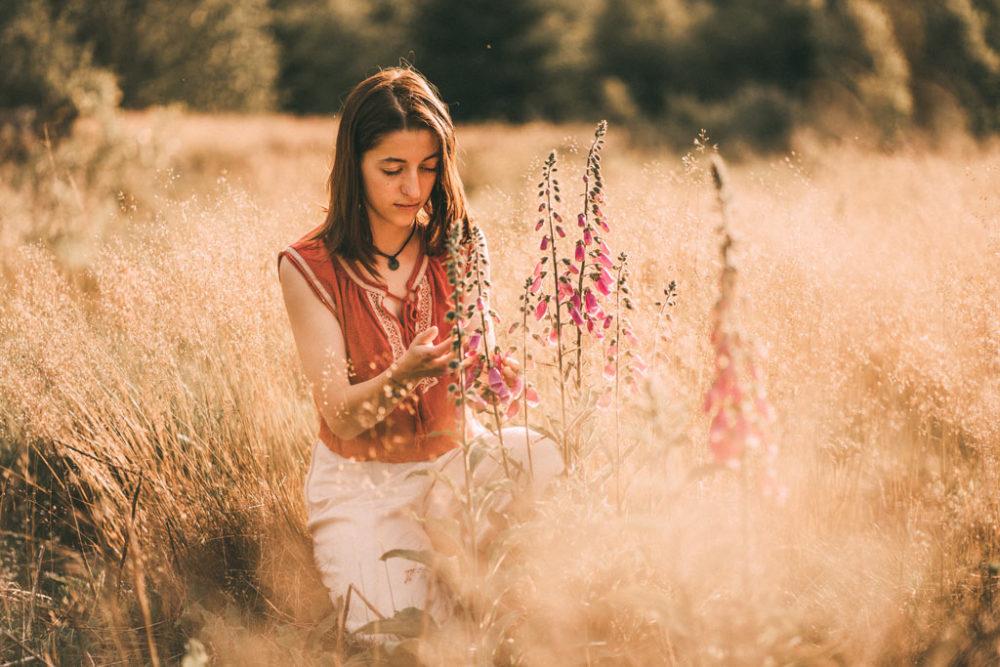 Fotoshooting in der Sonne mit Fingerhut