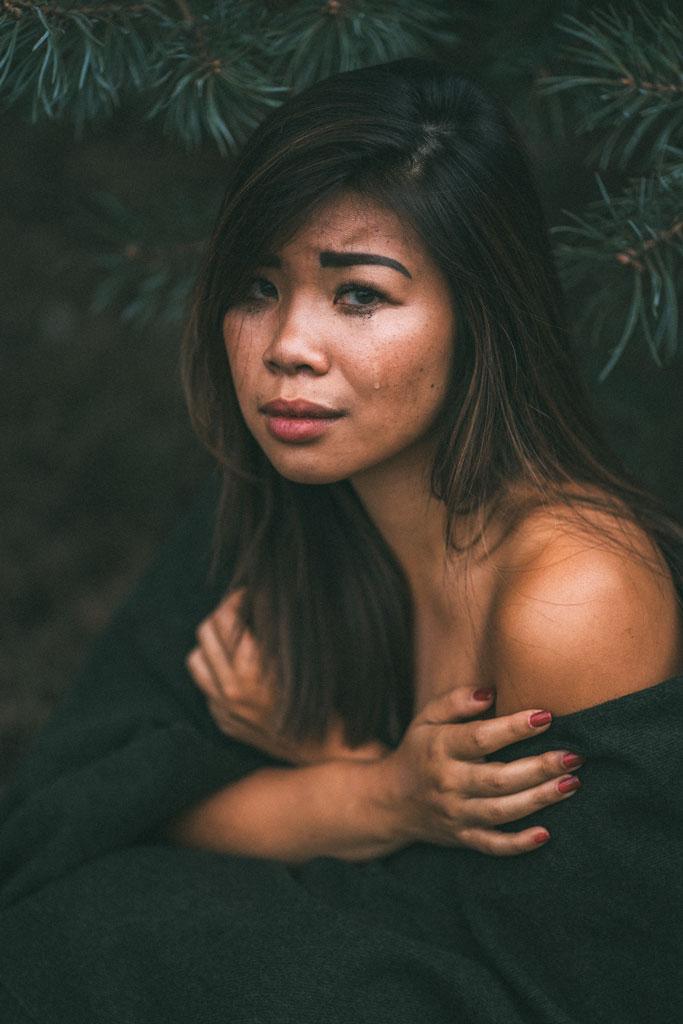 Fotoshooting mit Model weinen traurig