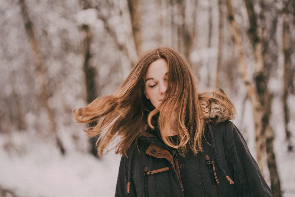 Fotoshooting im Schnee Haare Winter